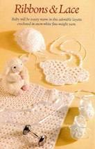 Y489 Crochet PATTERN ONLY Ribbons & Lace Baby Bib Bonnet Booties Blanket... - $7.50