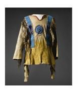 Mens Native American Buckskin Tan Buffalo Suede Leather Powwow War Shirt... - $269.10