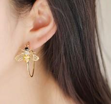 Yellow Zirconia Bee Earrings Hoop Luxury Insect Jewelry Natural Statement - $12.96