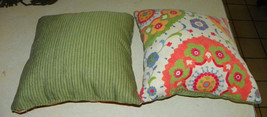 Pair of Green Blue Flower Print Throw Pillows  16 X 16 - $59.95