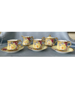 Nippon Antique Rose Gold 8Pc Set c1891 Maple Leaf 3 Cups & Saucers Sugar... - $485.80
