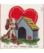 Vintage Valentine Card Spaniel at Dog House 1950s A-Meri-Card for Child - $7.91