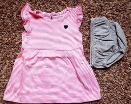 Girl's Size 3 M 0-3 Months 2 Pc Carter's Pink & White Striped NIP Dress,... - $18.00