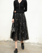 Black Pleated Long Tulle Skirt High Waisted Pleated Tulle Holiday Skirt Outfit image 6