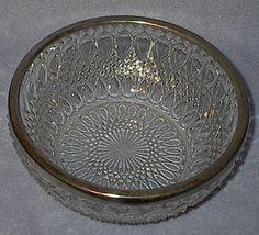 Elegant England Glass Press Pattern Kitchen Bowl Silver Rim - $9.95