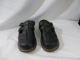Dr Doc Martens Womens Sandals Black Leather Slip On Slide Buckle Size 6 - $42.56