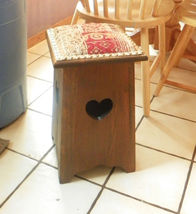 Pine Heart Carved Stool Footstool - $169.00