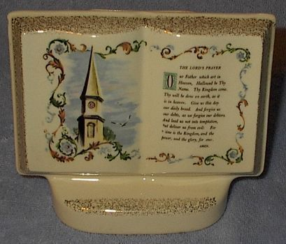 Primary image for Vintage Lord's Prayer Porcelain Book Planter