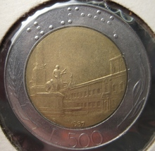 1987 500 L  Italy Two Tone Coin - $3.15