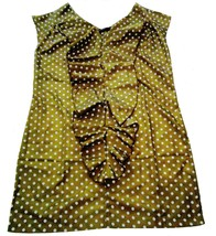 Euromoda Brown Satin Polka Dot Dress Size Medium A Line Ruffles V Neck NWOT - $16.00