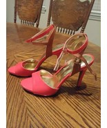 EUC Jessica Simpson IYANA heels Red 91/2b Buckle closure single strap to... - $29.70