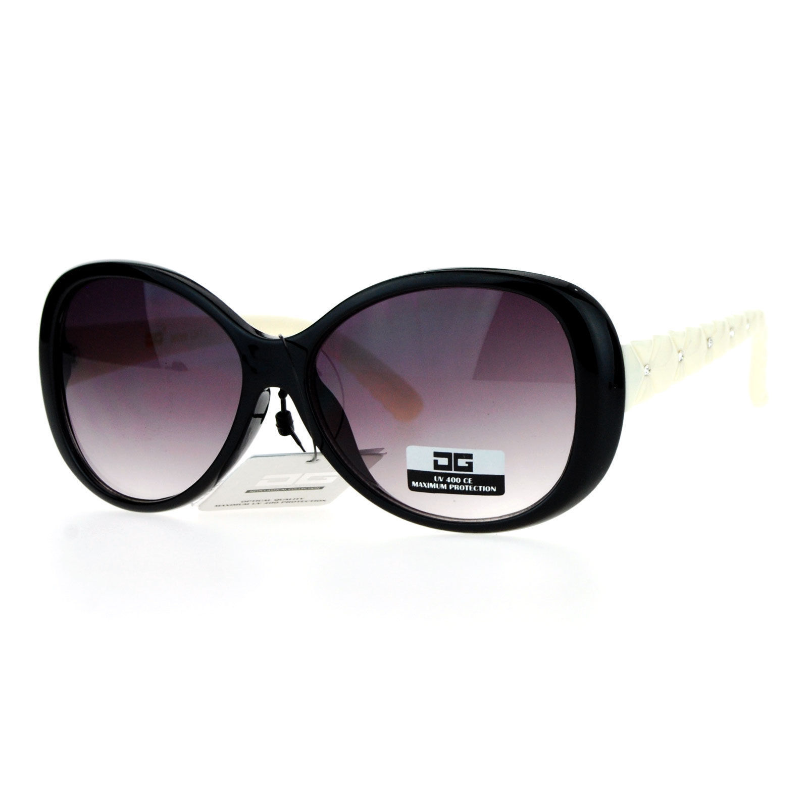 CG Eyewear Womens Sunglasses Round Oval Quilted Look Rhinestones Design