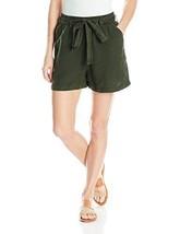 Lucky Brand Women's Tie Front Linen Short Deep Depths Size Large - $25.92