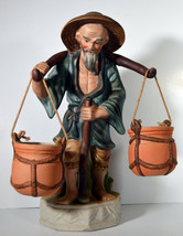 """Vintage 12"""" Hand Painted Porcelain Chinese Peasant Carrying Baskets Statue - $56.99"""