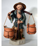 "Vintage 12"" Hand Painted Porcelain Chinese Peasant Carrying Baskets Statue - $56.99"