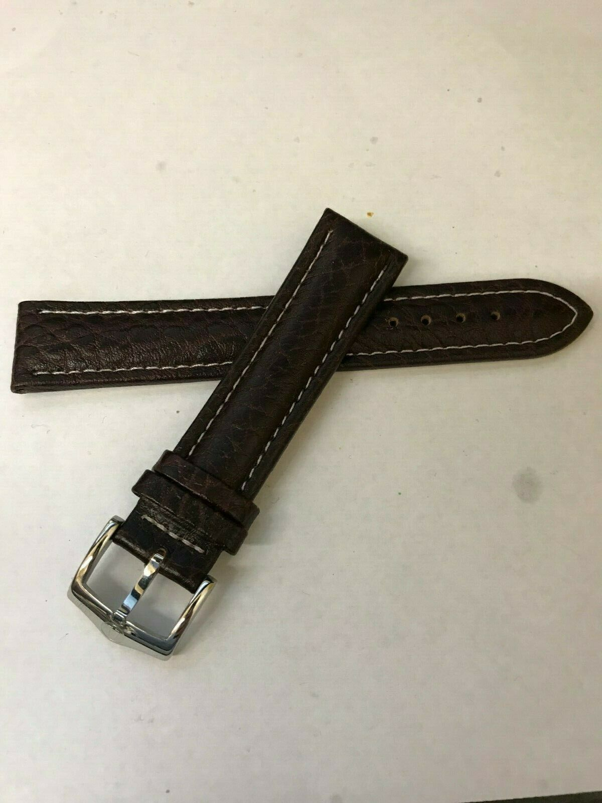 Primary image for NEW Bulova Brown Leather Silver Buckle 98C71 Watch Band Replacement Strap