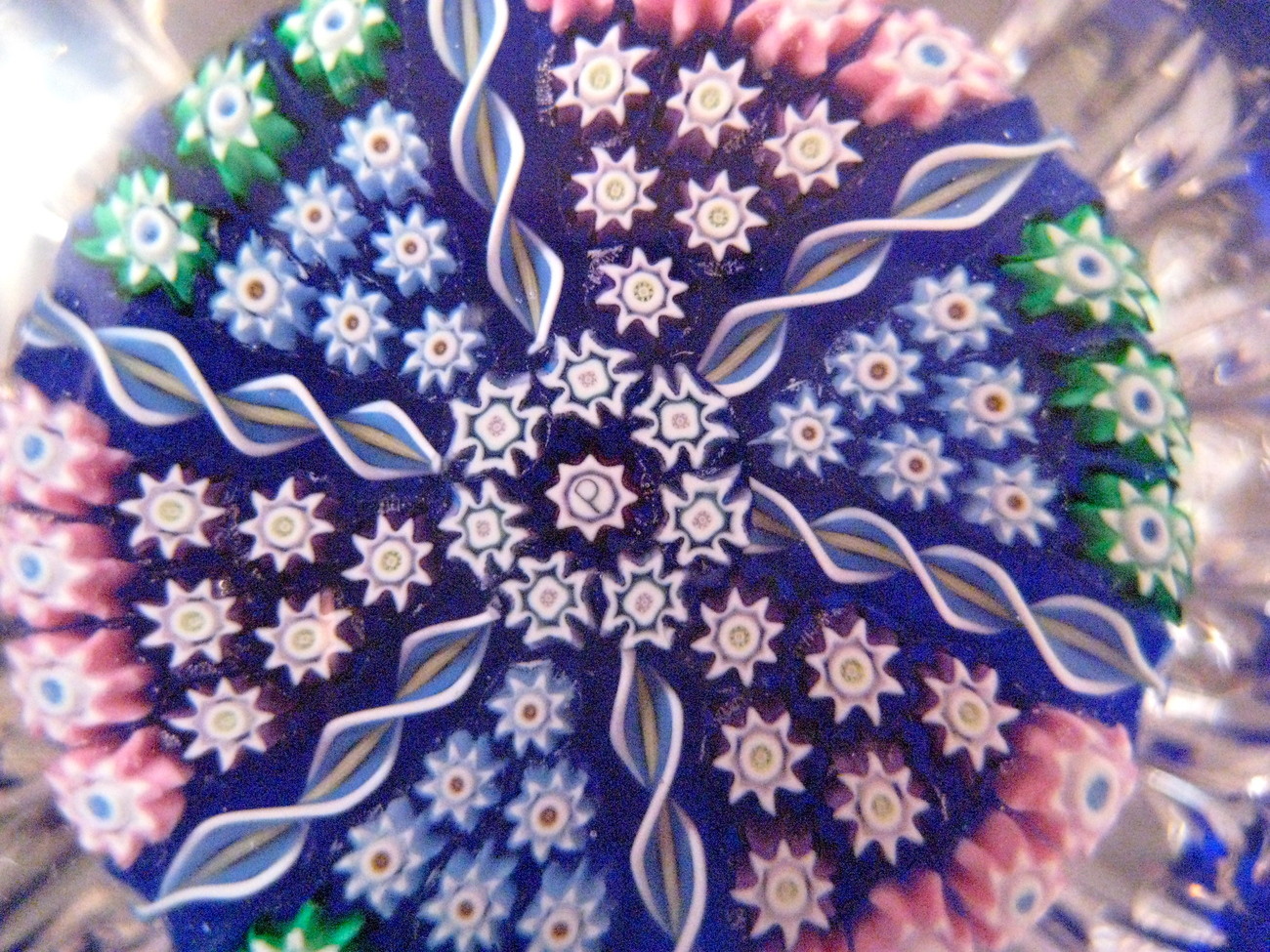 Perthshire Studio Glass Paperweight with Central P Cane and Pressed Fluted Edges