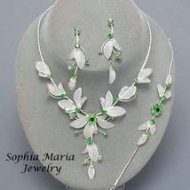 Green Flower Crystal 3 piece Bridesmaid Wedding Party Prom Formal Neckla... - $19.79