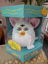 Original ADORABLE 1999 Baby Blue Furby Baby Grey Eyes NRFB Model #70-940 NEW - $59.99