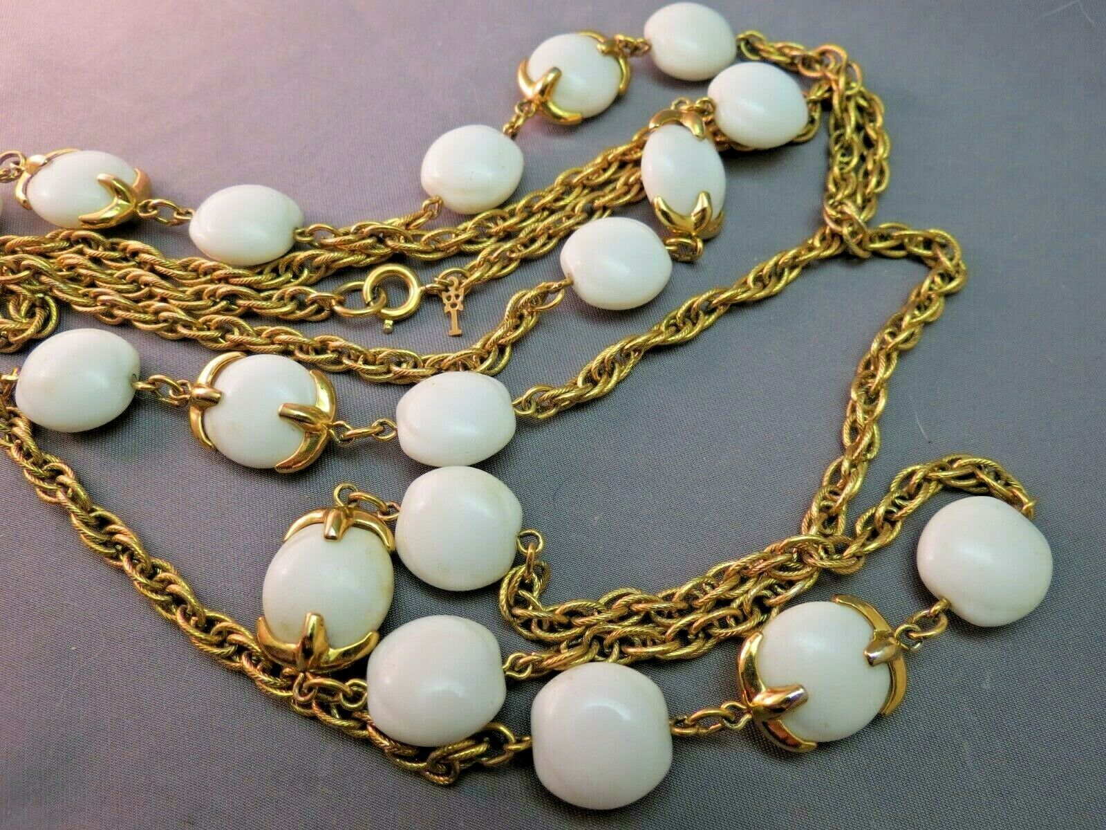 """VTG Crown Trifari Long Necklace Chain Gold Plated Glass Beads Couture 54"""" Long"""