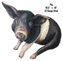 Black White Pig Animal Wall Art Laser Cut Out Metal Sign 18x18.5 - $29.70