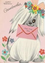 Vintage Birthday Card Sheepdog in Flower Wreath For Grandmother 1960's G... - $9.89