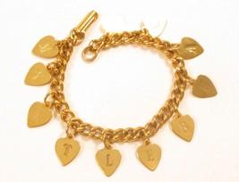 "Pleasant Vintage Myrtle Beach Gold Plated Heart Charm Chain Bracelet *7""... - $22.76"
