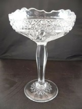 Vintage Pressed and Cut Glass Crystal Pedestal Centerpiece Compote Bowl  - $34.30
