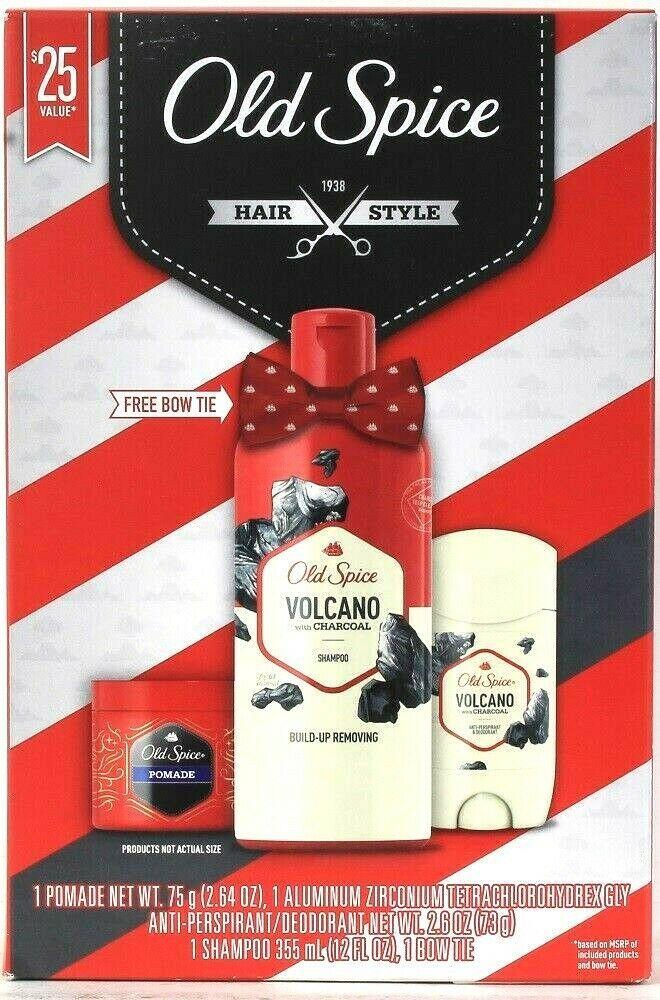 Old Spice 1938 Hair Style Valcano Charcoal Pomade Deodorant Shampoo Bow Tie Set - $25.99