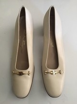 Vintage Salvatore Ferragamo White Leather Pumps Low Stacked Heel Shoes  ... - $38.73 CAD