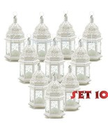 Lot of 10 White Moroccan Candle Lantern Chic Wedding Party Centerpieces - $123.92