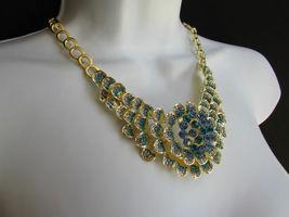 Nuevo Mujer Grande Dorado Flor Tendencia Jewelry Azul Diamantes Collar image 5
