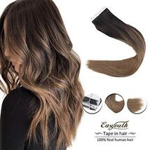 Easyouth 14inch Adhesive Tape in Hair Extensions Balayage Color 2 Dark Brown Fad image 2