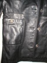 New Womens S Soft Karl Lagerfeld Paris Leather Jacket Black Silver Designer Lamb image 9