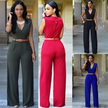 Fashion Women s Siamese Trousers Rompers Sleeveless V-neck Wide leg Jump... - $40.80