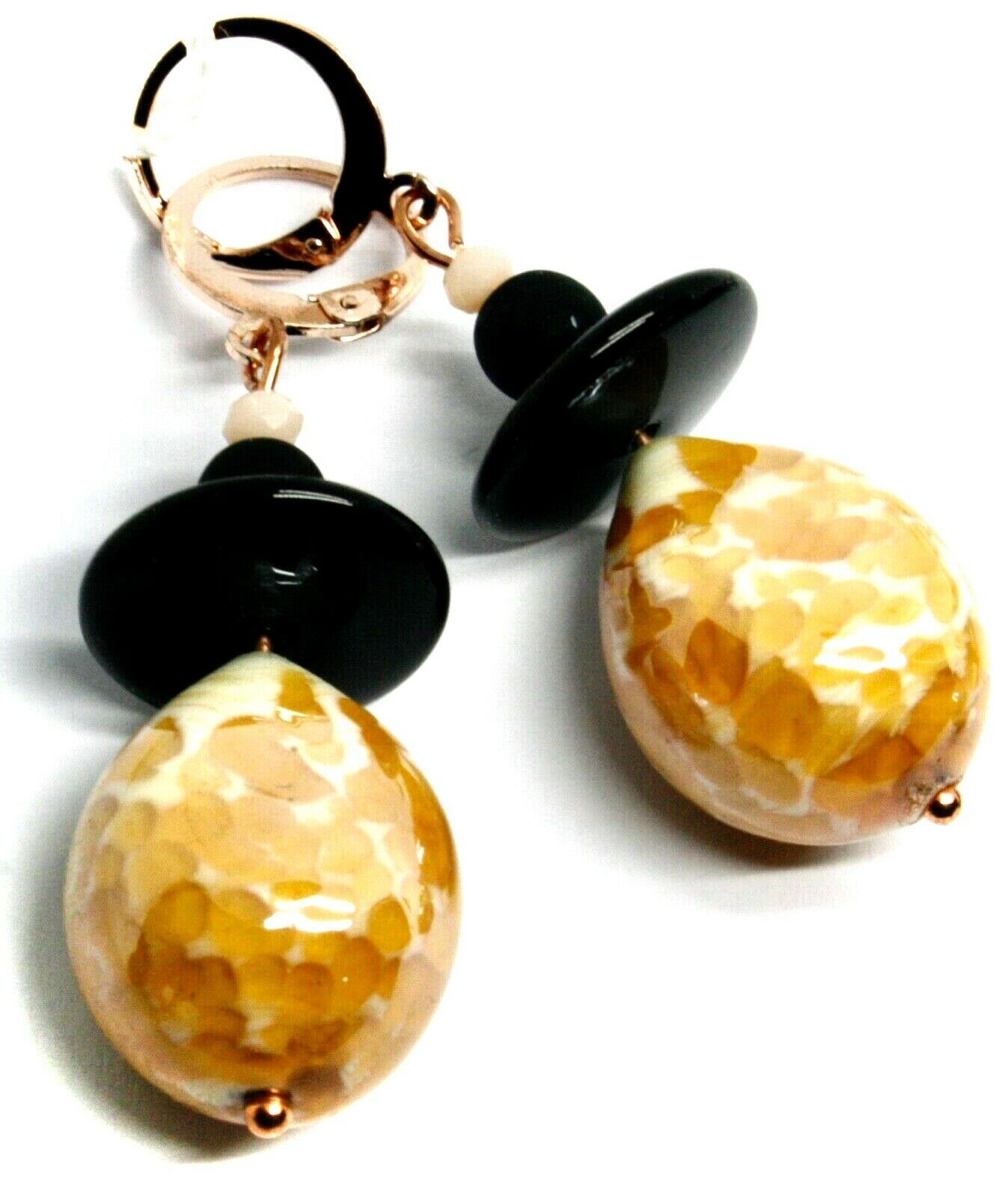 """PENDANT ROSE EARRINGS BLACK, ORANGE SPOTTED DROP MURANO GLASS 5cm 2"""" ITALY MADE"""