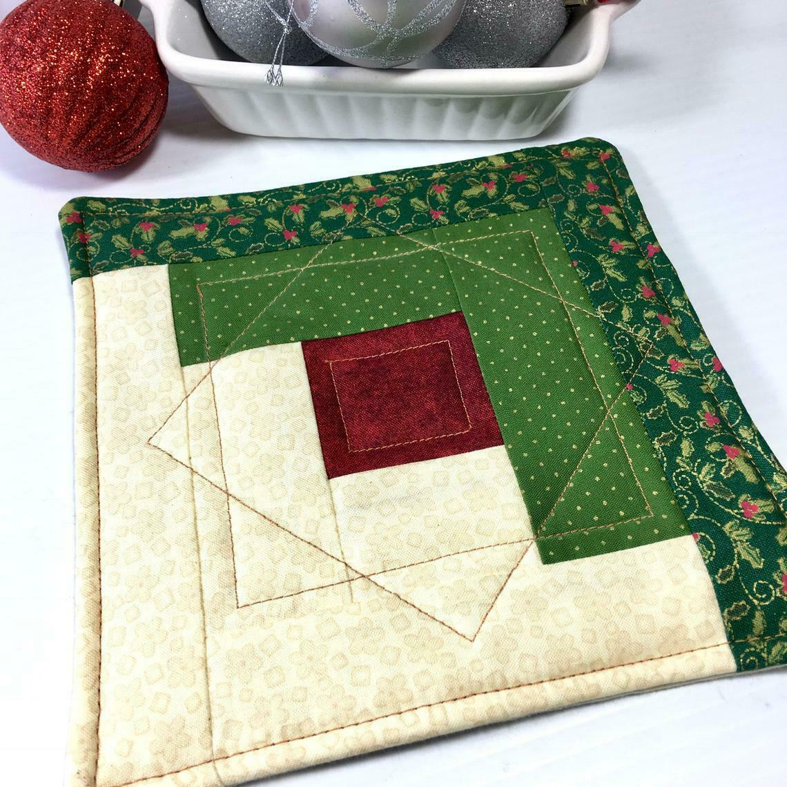 Christmas Pot Holder Quilted Handmade Holiday Log Cabin Block Heat Resistant image 9
