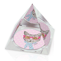 "Retro Cat Fashion Illustrated Animal Art 2"" Crystal Pyramid Paperweight - ₨1,038.18 INR"