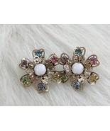 Silver Tone Flower Screw Back Earrings Encrusted Pastel Color Rhinestones - $5.90