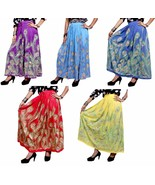 10Pcs Indian Rayon Embroidered Sequin Work Boho Hippie Long Skirt Wholes... - $84.99