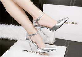 83s041 elegant strappy pointy sandals Size 4-8.5 silver - $52.80