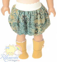 Turquoise/Camel Lace Mesh Bubble Skirt Doll Clo... - $13.85