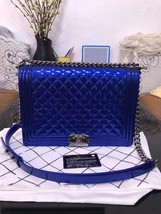 SALE*** Authentic Chanel Boy Metallic Blue Quilted Patent Large Leather Flap Bag image 1