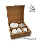 Royal Massage 2pc Massage Marble Cold Stone Therapy Set with Bamboo Case - $59.31