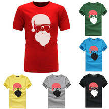 Fashion Men Christmas Printing Tee Shirt Short Sleeve Casual T Shirt Blo... - $14.90