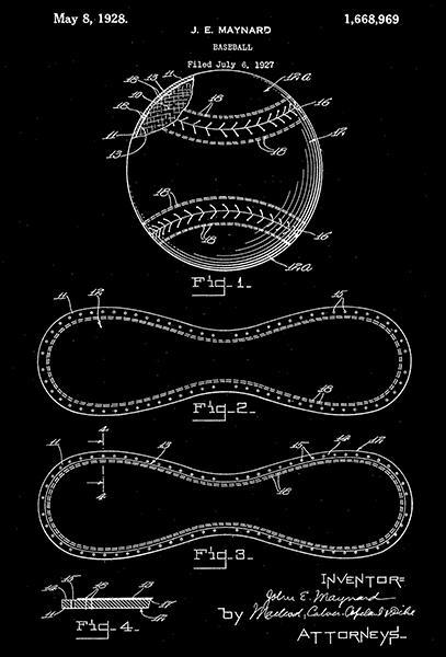 Primary image for 1928 - Baseball Ball - J. E. Maynard - Patent Art Poster