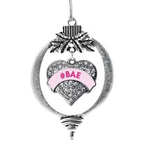 Inspired Silver #BAE Pink Candy Pave Heart Holiday Ornament - $14.69