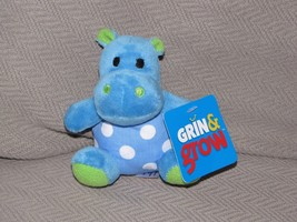 Sassy Grin & And Grow Baby Rattle Blue White Green Polka Dot Circle Hippo Toy - $39.59