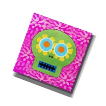 """'Day Of The Dead I' By Linda Woods Giclee Canvas Wall Art, 18"""" X 18"""", Pink - $85.99"""