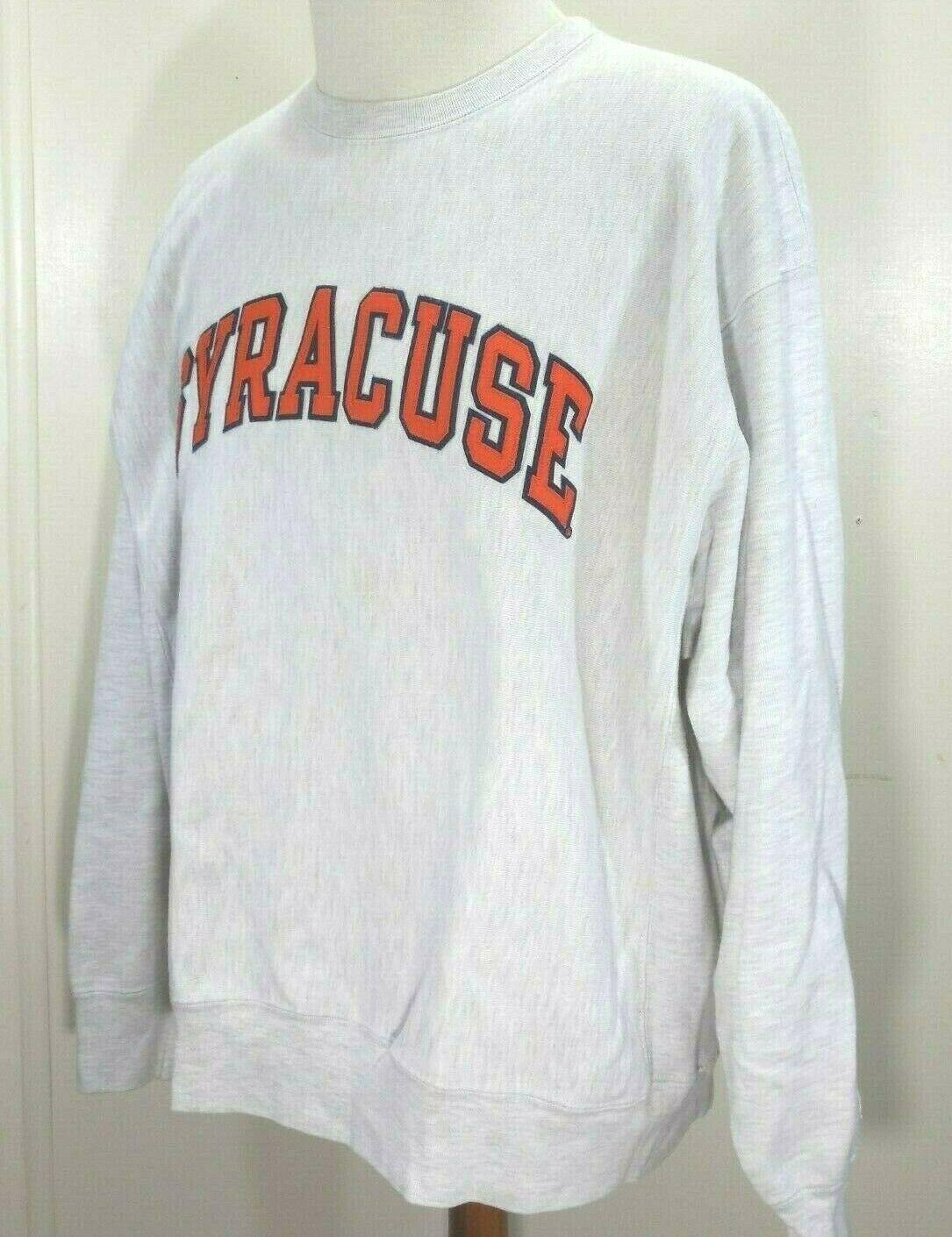 VTG 90s Syracuse Orange CHAMPION Mens XL GRAY 80/20 REVERSE WEAVE Sweatshirt